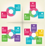 Infographics templates. Infographics presentation templates with 2, 3, 4 and 5 elements Royalty Free Stock Images
