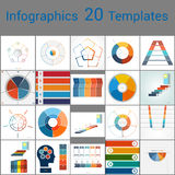 Infographics 20 Templates, text area on five position. Infographics 20 Templates, text area on five position , Can be used for workflow process, business banner Royalty Free Stock Images