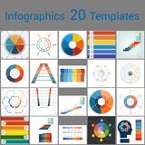 Infographics 20 Templates, text area on six position. Infographics 20 Templates, text area on six position, Can be used for workflow process, business banner Royalty Free Stock Image