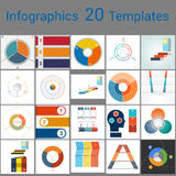 Infographics 20 Templates, text area on three position. Can be used for workflow process, business banner, diagram, number options, work plan, web design Stock Photography