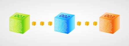 Infographics - three color cubes. As a three steps Stock Photos