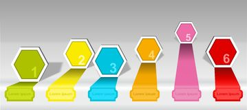 Infographics timeline numbered hexagon options elements Stock Image