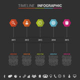 Infographics timeline template with polygons and icons. Vector Royalty Free Stock Photo