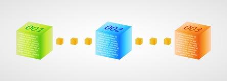 Infographics - três cubos da cor Fotos de Stock