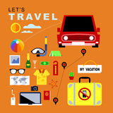 Infographics about Traveling and Vacation. Vector Flat Icons set Infographics about Traveling and Vacation of Peoples, Travel concepts Stock Image