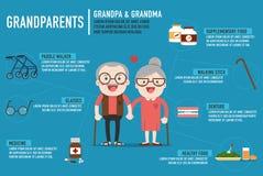 Infographics trok bejaard hoger leeftijdspaar terug Stock Foto's