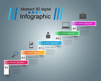 Infographics up the ladder to success. Business stair. 3D infographics and business ladder. Marketing info Royalty Free Stock Photos