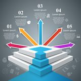 Infographics up the ladder to success. Business stair. 3D infographics and business ladder. Vector eps 10 Stock Photos