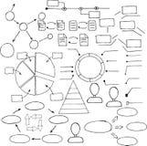 Infographics uppsättning - hand dragen stilillustration Royaltyfri Foto