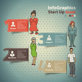 Infographics ustawiający w stylu nakreślenia biznesowa drużyna Zdjęcie Stock