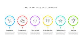 Infographics van de bedrijfsprocesgrafiek met 6 stapcirkels Cirkel collectieve werkschema grafische elementen E vector illustratie