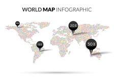 Infographics van de de Puntillustratie van de wereldkaart kleurrijke Royalty-vrije Stock Afbeeldingen