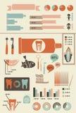Infographics van de tandenzorg met pictogrammenbanners en grafieken Royalty-vrije Stock Foto's