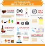 Infographics van het gezonde leven Royalty-vrije Stock Foto's
