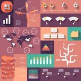 Infographics van vlak ontwerp met lange schaduwen Stock Afbeelding