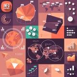 Infographics van vlak ontwerp met lange schaduwen Stock Foto's