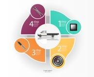 Infographics van vrachtvervoer en vervoer Malplaatje van automobiele infographics Abstracte virtuele grafische aanrakingsgebruike stock illustratie