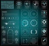 Infographics van vrachtvervoer en vervoer Malplaatje van automobiele infographics Abstracte virtuele grafische aanrakingsgebruike vector illustratie