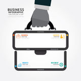 Infographics vector businessman hand hold business bag design. Stock Photography