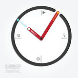Infographics vector clock design diagram line style template.