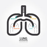 Infographics vector lung design organ concept diagram line style Stock Image