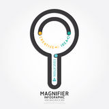 Infographics vector magnifier design diagram line style. Stock Image