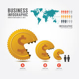 Infographics vector money and gold coin.Business eat little busi Royalty Free Stock Photos
