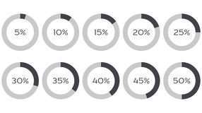 Infographics vector: 5%, 10%, 15%, 20%, 25%, 30%, 35%, 40%, 45%, 50% pie charts. Set of circle diagrams isolated on white vector illustration