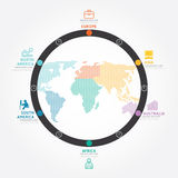 Infographics vector world business concept design diagram line. Royalty Free Stock Images