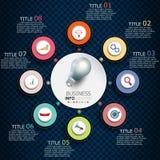 Infographics-Vektorentwurfs- und -marketing-Ikonen lizenzfreie stockfotos