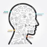 Infographics-Vektorkopfdesigndiagrammlinie Artschablone Stockfoto