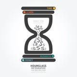 Infographics-Vektorsanduhrdesigndiagrammlinie Artschablone Stockfoto