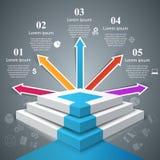 Infographics vers le haut de l'échelle au succès Escalier d'affaires Photos stock