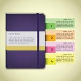 Infographics violeta del cuaderno Foto de archivo