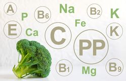 Infographics with vitamins and minerals found in broccoli. Photo of useful food. Vitamins in broccoli, vegetarian food, diet,