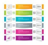 Infographics-Vorsprung im horizontalen Papierindex mit der Schablone mit 6 Daten Vektorillustration Zusammenfassungshintergrund k stock abbildung