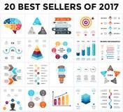Infographics wektorowy set 20 bestsellerów 2018 Biznesowi diagramy, strzała wykresy, początkowe prezentacje i pomysł, royalty ilustracja
