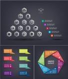 Infographics wektorowy set Ostrosłup infographic z socjalny sieci ikonami, linia czasu Cyklu diagram, wykres, prezentacja ilustracji