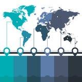 Infographics-Weltkarten von blauen grünen Farben der Kontinente auf weißem Hintergrundfreiem raum stock abbildung