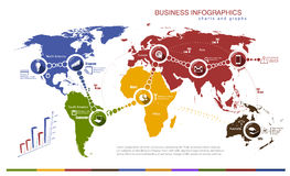 Infographics with world map and charts Royalty Free Stock Photography