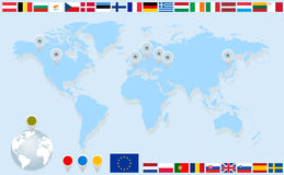 Infographics with World map and flags Royalty Free Stock Photo