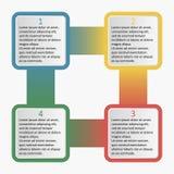 Infographics z zaokrąglonymi kwadratami Biznesowy szablon z opcjami, częściami, krokami lub procesami 4, również zwrócić corel il Obraz Royalty Free