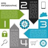 Infographics-Zusammenfassungs-Quadrat-Wahlen vier Wahlen mit Pfeilen lizenzfreie abbildung