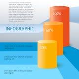Infographics-zylinderförmig-Histogramm-Statistik-Schablone Lizenzfreies Stockfoto