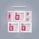 Infographicsachtergrond met kubussen en brieven - roze en wit Stock Foto