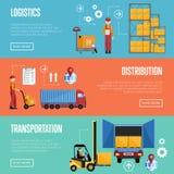 Infographicsbanners van het pakhuisproces Stock Afbeelding
