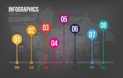 Infographicschronologie op Donkere Achtergrond Stock Foto's