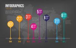 Infographicschronologie op Donkere Achtergrond Royalty-vrije Stock Afbeelding