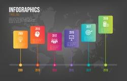 Infographicschronologie op Donkere Achtergrond Royalty-vrije Stock Afbeeldingen