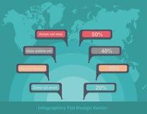 Infographicscirkels op wereldkaart op achtergrond royalty-vrije stock afbeeldingen